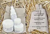 Natural Skincare Gift Bag Set - Hydration Cream, Gingerbread Lip Scrub, Rose-Infused Toner, Comfrey Lip Balm