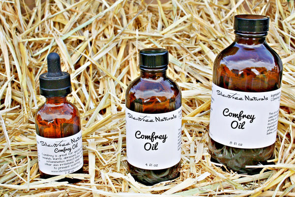 Comfrey Leaf-Infused Rice Bran Oil - For Wounds, Burns, Abrasions, Bug Bites, Inflammation, Skin Issues