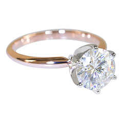 14k or 18k White and Rose Gold Two-Tone Solitaire Collection - Fire & Brilliance