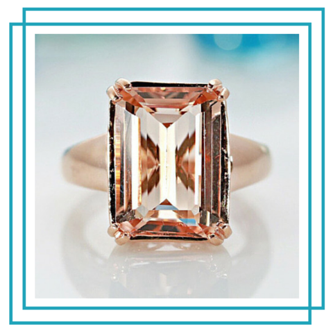 15.5mm x 11mm Emerald Cut Salmon Color Morganite Center Gem 14k Solid Rose Gold Antique Floral Basket Design 7.7 Carat Total Weight