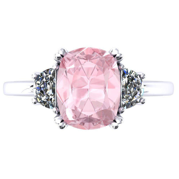 10.0x8.0mm Chatham Light Pink Sapphire Antique Cushion 950 Platinum 4 Double Prong 3 Stone Ring-Fire & Brilliance ® Creative Designs-Fire & Brilliance ®