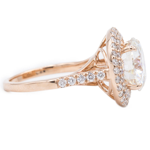 10mm Round Moissanite 14K Rose Gold Halo Cathedral Engagement Ring 4.60 Total Carat Weight-Fire & Brilliance ® Creative Designs-Fire & Brilliance ®