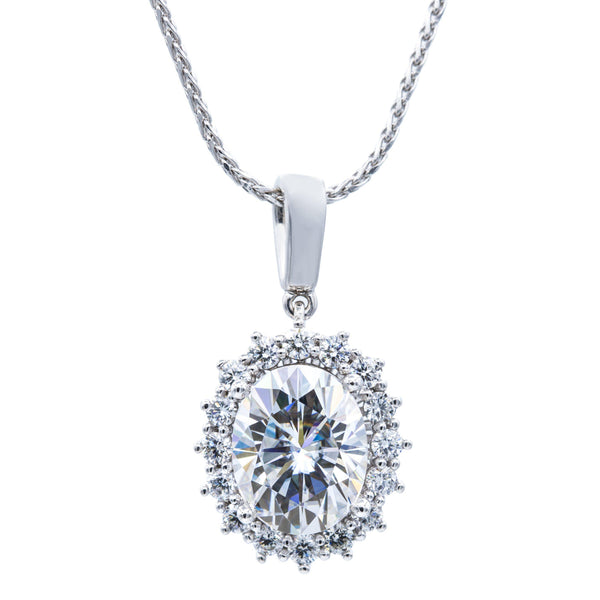 10x8mm Oval Moissanite with Diamond Cluster Halo 14K White Gold Pendant and Wheat Chain-Pendants-Fire & Brilliance ®