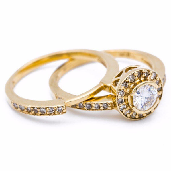 5mm Charles & Colvard Forever One Moissanite and Diamond Engagement Set 14K Yellow Gold Ring 1 Carat Total Weight-Fire & Brilliance ® Creative Designs-Fire & Brilliance ®
