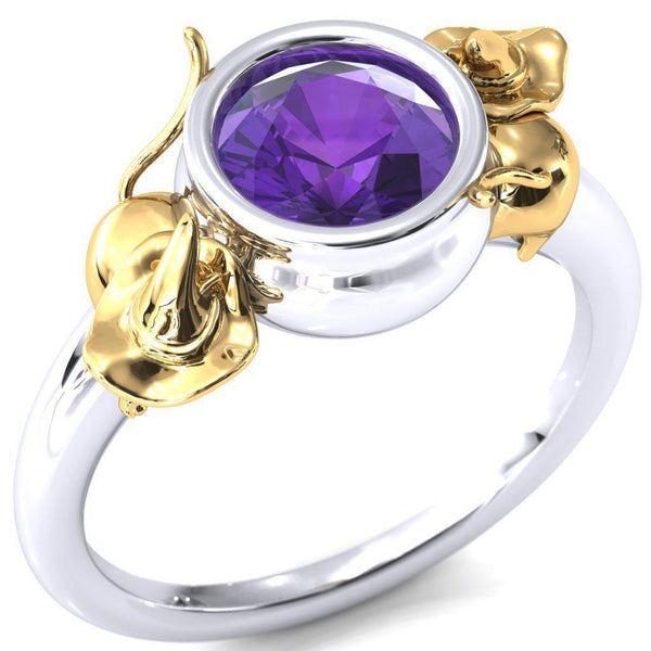 6.5mm Amethyst Round Halloween Cats and Cauldron Ring-Fire & Brilliance ® Creative Designs-Fire & Brilliance ®