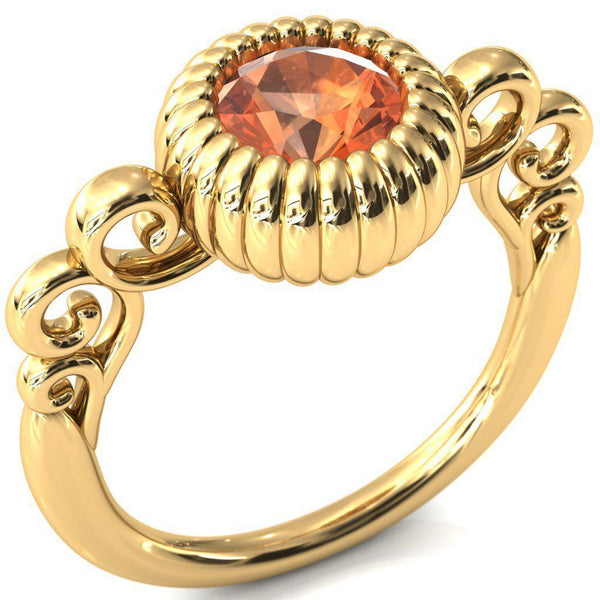 6.5mm Garnet Round Halloween Pumpkin Ring-Fire & Brilliance ® Creative Designs-Fire & Brilliance ®