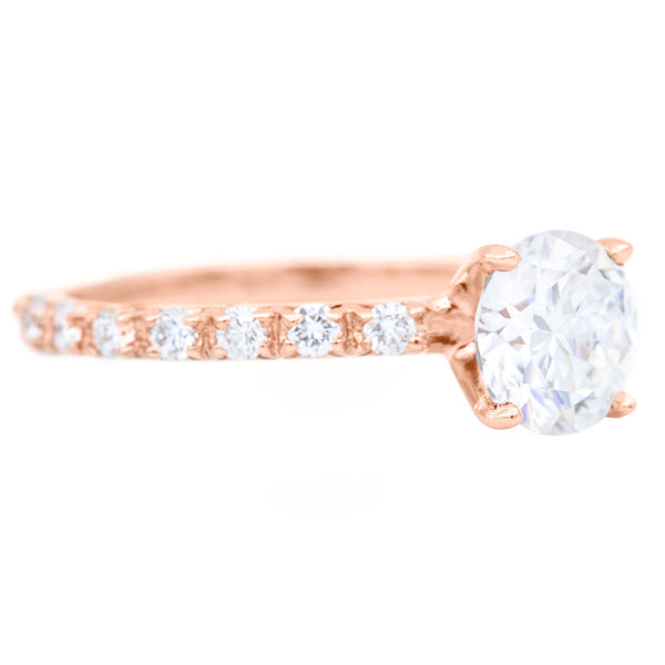 6.5mm Round Moissanite 14k Rose Gold Half Eternity 4 Prong Engagement Ring 1.30 Carat Total Weight-Fire & Brilliance ® Creative Designs-Fire & Brilliance ®