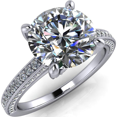6.5MM ROUND MOISSANITE 14K WHITE GOLD 4 PRONG DIAMOND SHANK ENGAGEMENT RING-FIRE & BRILLIANCE