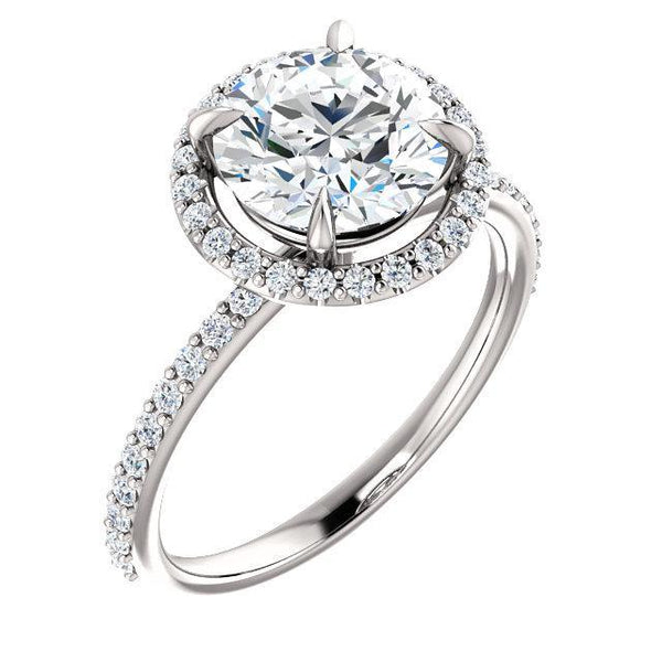 6.5mm Round Moissanite 14K White Gold Diamond Accent Ice Halo Ring-Fire & Brilliance ® Creative Designs-Fire & Brilliance ®