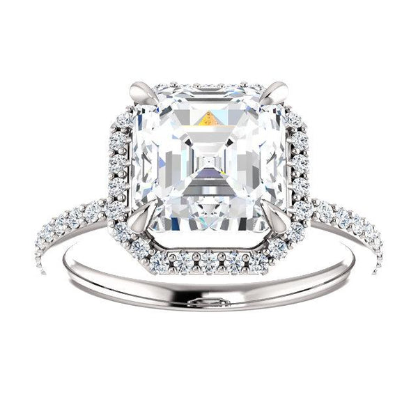 7mm Asscher Moissanite 14K White Gold Diamond Accent Ice Halo Ring-Fire & Brilliance ® Creative Designs-Fire & Brilliance ®
