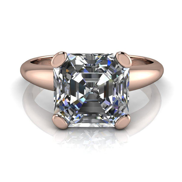 8.0mm Asscher Moissanite18k Rose Gold 4 Prong Comfort Band Engagement Ring-Fire & Brilliance ® Creative Designs-Fire & Brilliance ®
