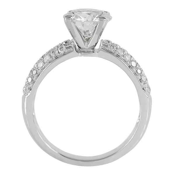 8MM ROUND MOISSANITE AND DIAMOND FIRE 3 ROW PAVE SHOULDERS 14K WHITE GOLD RING-FIRE & BRILLIANCE
