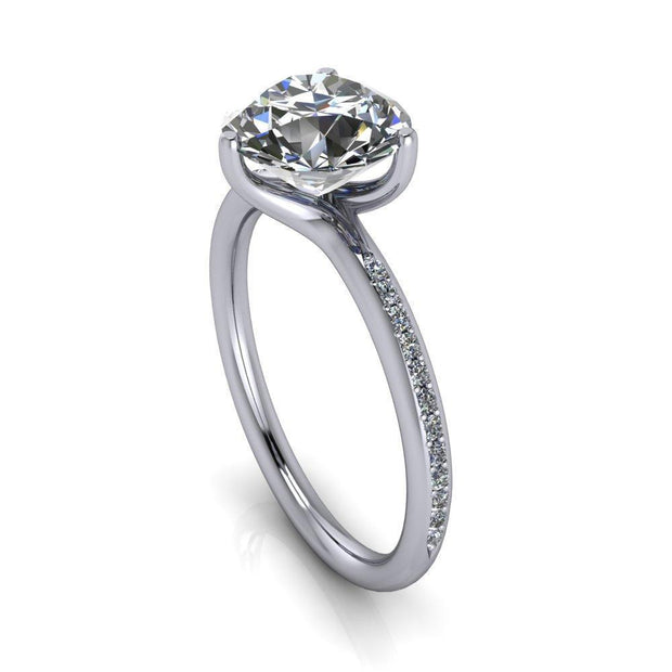 8.5mm Round Moissanite Platinum 3 Prong Set Diamond Solitaire Ring-FIRE & BRILLIANCE