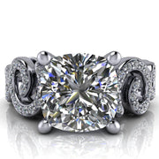 Public Affair Cushion Moissanite 4 Prong Loop Band Engagement Ring-Custom-Made Jewelry-Fire & Brilliance ®