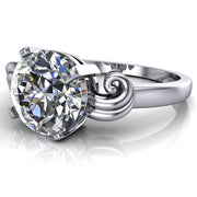 Keeley Round Moissanite 4 Prong Shoulder Curl Ring-Custom-Made Jewelry-Fire & Brilliance ®