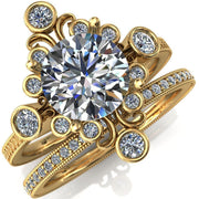Leilani Round Moissanite Art Deco Natural Diamond Galaxy Design Engagement Ring-Custom-Made Jewelry-Fire & Brilliance ®