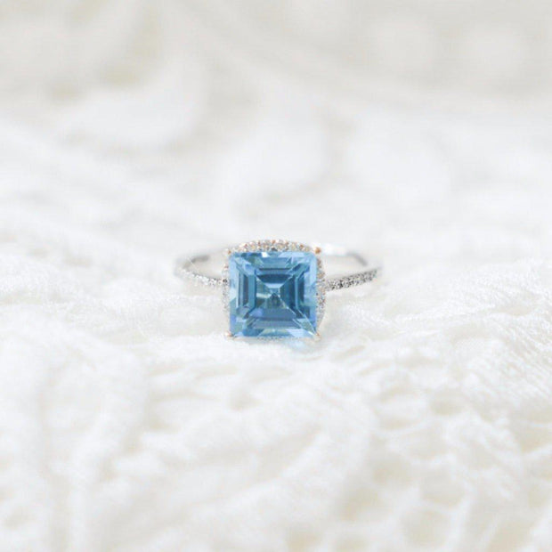 Natural Square Blue Topaz 14k Solid White Gold with Diamond Antique Shoulders and Floral Halo Basket Setting 3.7 CTTW-Fire & Brilliance ® Creative Designs-Fire & Brilliance ®