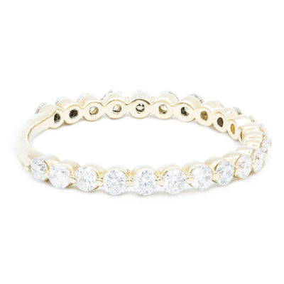 Round Diamond 14k Yellow Gold 3/4 Eternity Under Bezel Shared Wedding & Anniversary Band-Fire & Brilliance ® Creative Designs-Fire & Brilliance ®