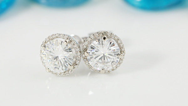 1270f0f45 Round Moissanite Diamond Halo Screw Backs 14K White Gold Earrings | FIRE &  BRILLIANCE