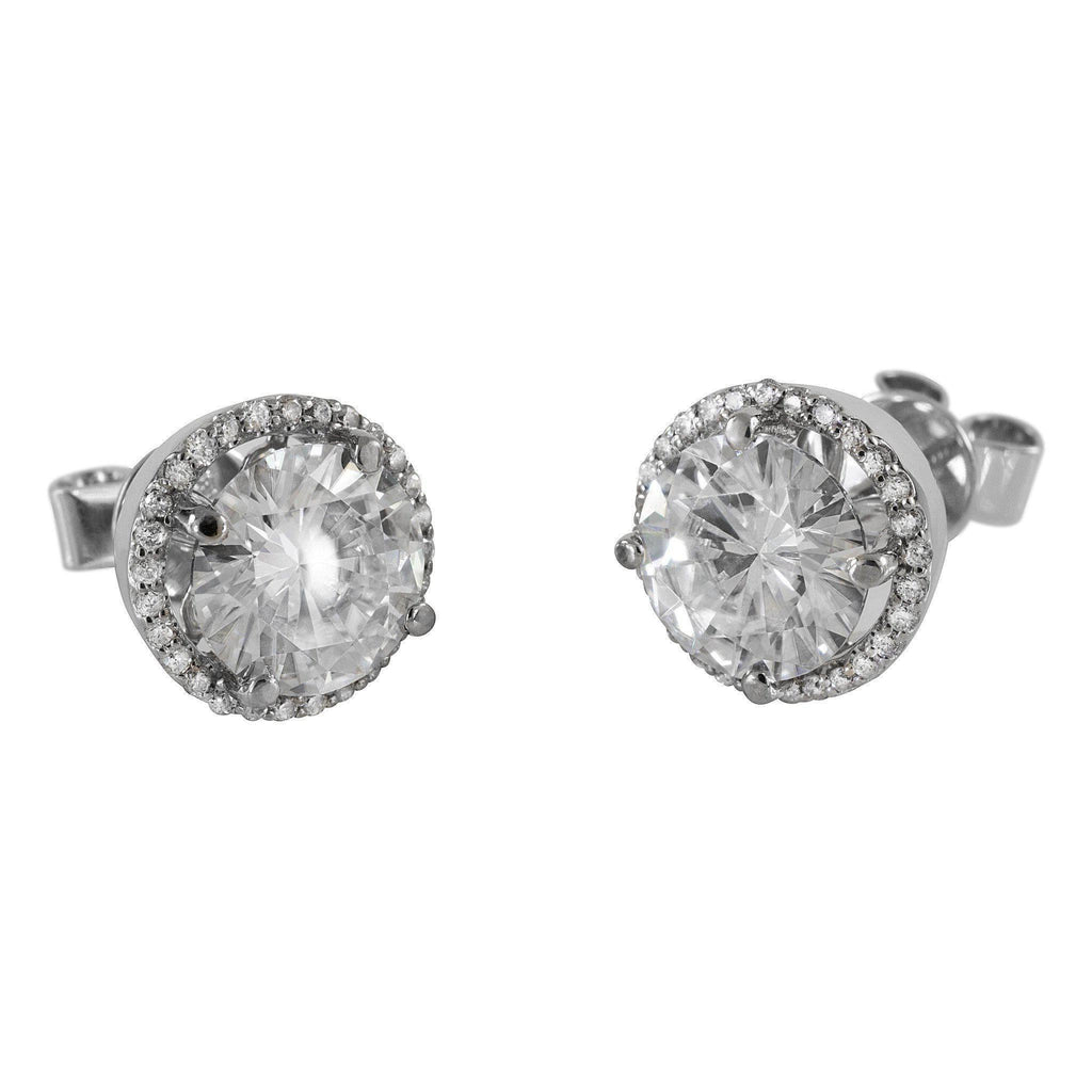 3a243330c Round Moissanite Diamond Halo Screw Backs 14K White Gold Earrings-Moissanite  Earrings-Fire &