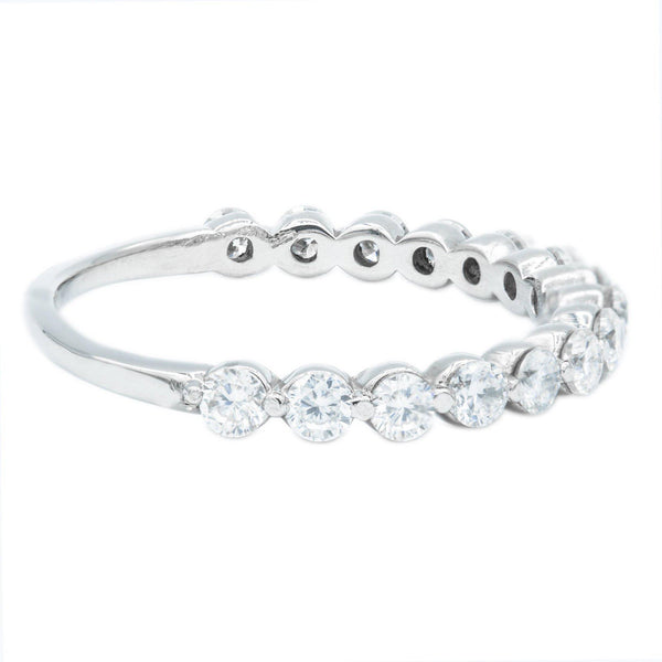Round Moissanite Platinum 1/2 Eternity Prong Set Bezel Band-Fire & Brilliance ® Creative Designs-Fire & Brilliance ®