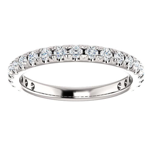 Round Natural Diamond 14K White Gold 3/4 Eternity French Pave Wedding & Anniversary Band-Fire & Brilliance ® Creative Designs-Fire & Brilliance ®
