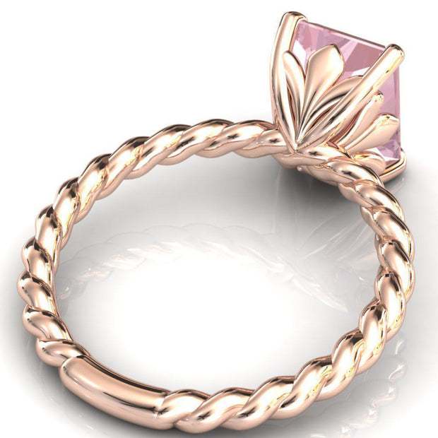 Victoria 10mm x 7mm Radiant Cut Pink Morganite Center Gem 14k Solid Rose Gold Braided Rope Vintage Filigree Ring 2.5 Carat Total Weight-Fire & Brilliance ® Creative Designs-Fire & Brilliance ®