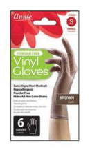 Annie Powder Free Vinyl Gloves Brown
