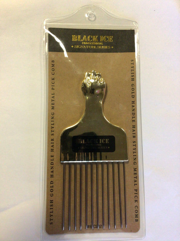 Black Ice Professional Stylish Gold Handle Metal Pick Comb