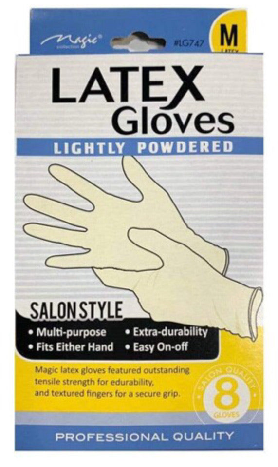 Magic Collection Latex Gloves Lightly Powdered 8ct