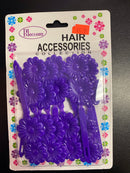 Self Hinge Plastic Hair Barrettes (Purple)