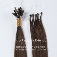 Load image into Gallery viewer, #1B/4 Ombre Color Micro Ring Hair Extensions