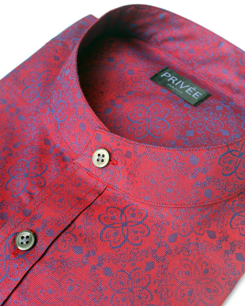 Royal Red Floral Wedding Shirt - Privee Paris