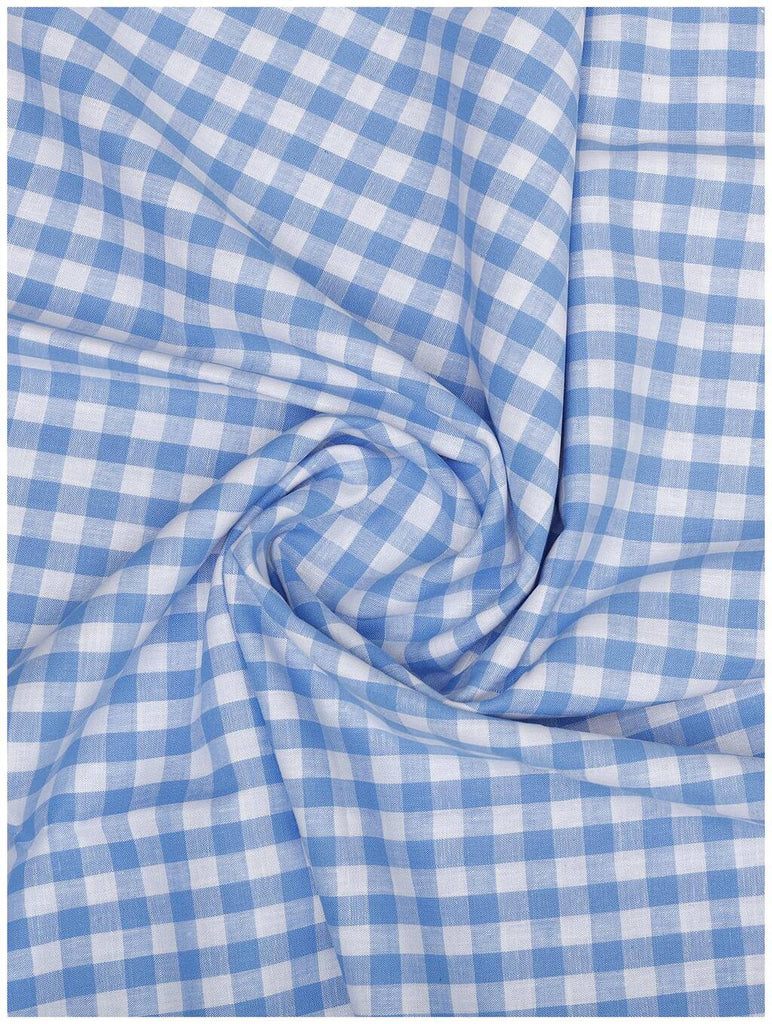 Light Blue-White Check Linen Shirt (Half Sleeves)