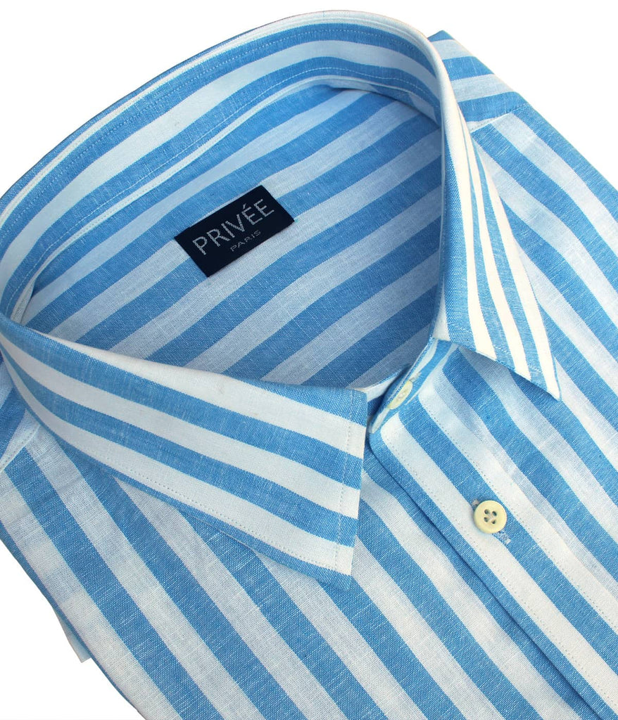 Light Blue-White Stripe Linen Shirt (Half Sleeves)
