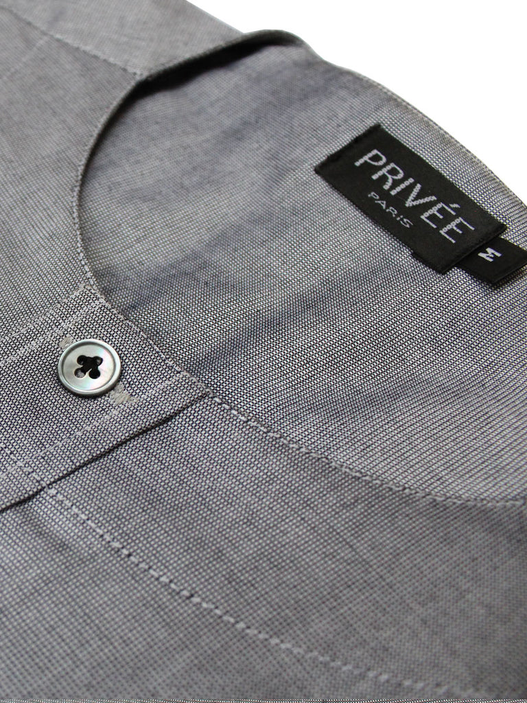 Zero Collar Grey Shirt-for Bandhgala - Privee Paris