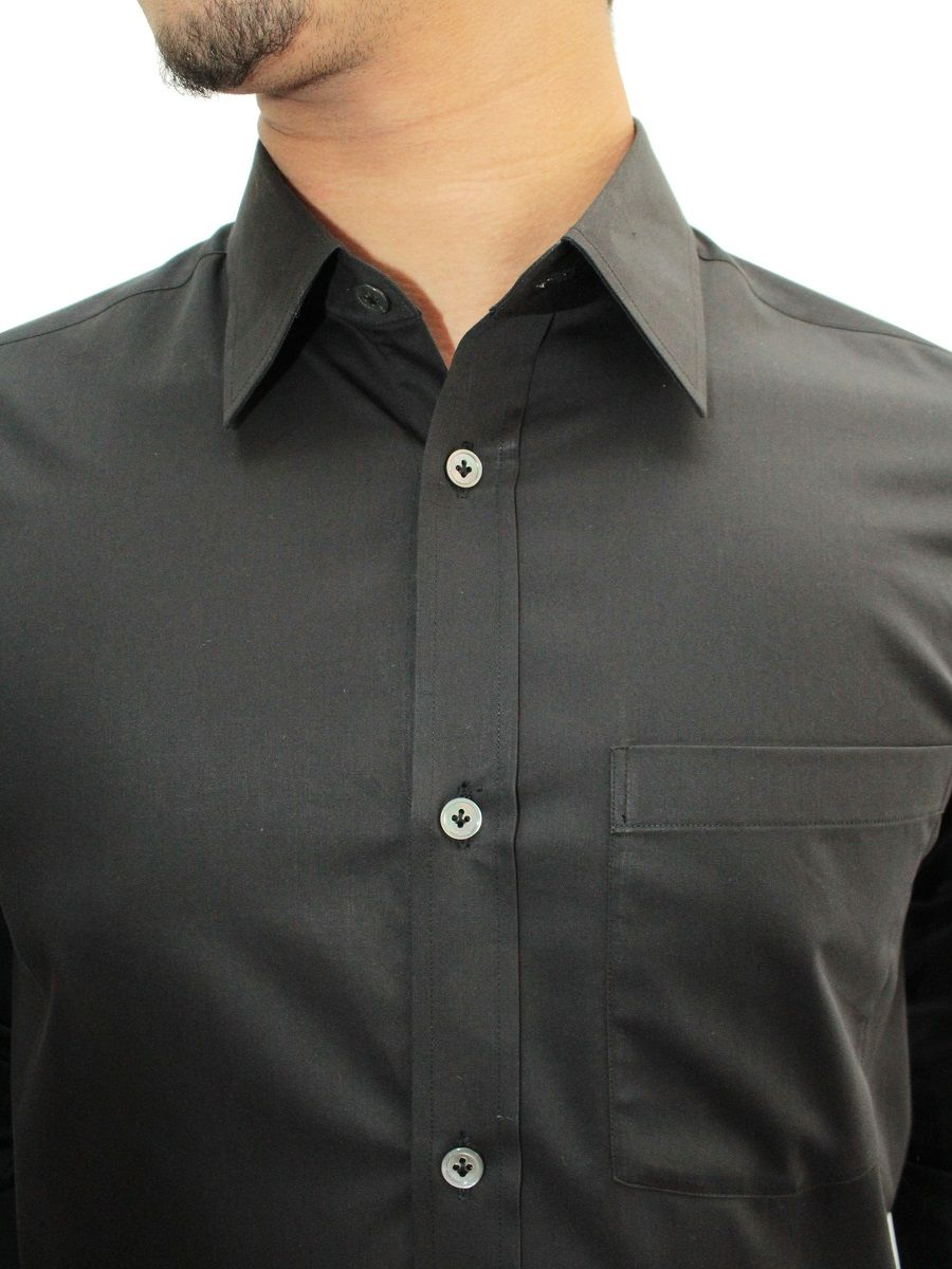 High-Quality Jet Black Cotton Shirt - Privee Paris