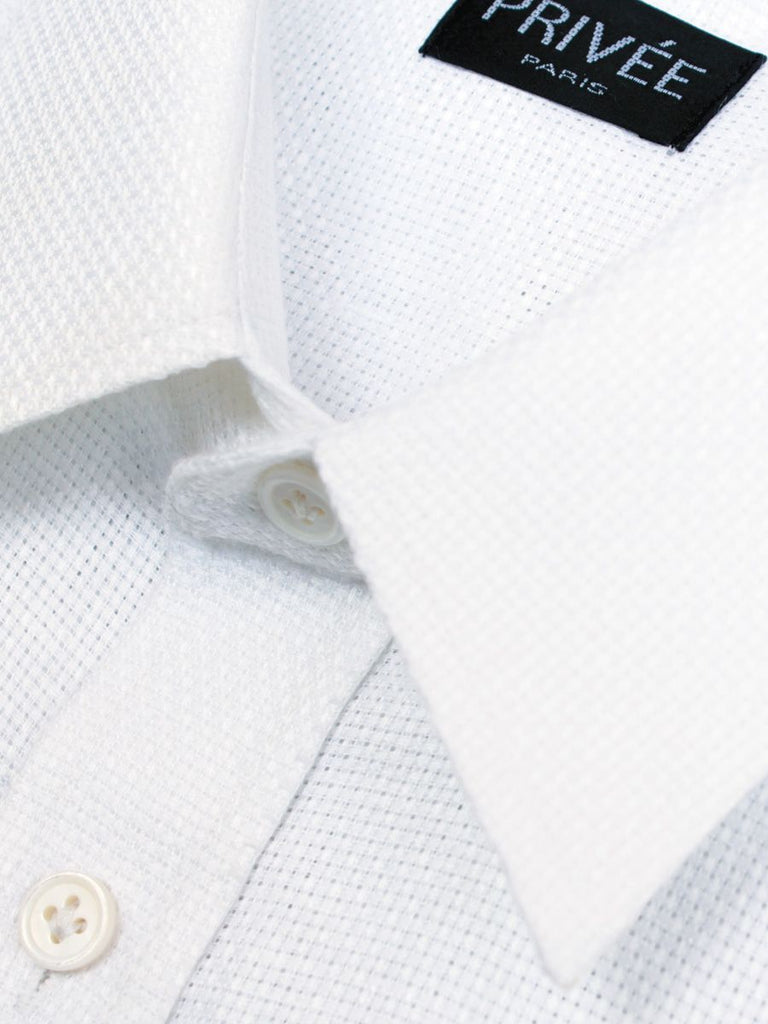 White Mesh Linen Shirt - Privee Paris