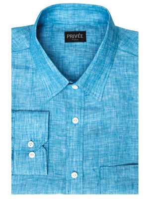 Linen Shirts for Men Blue Linen Shirt