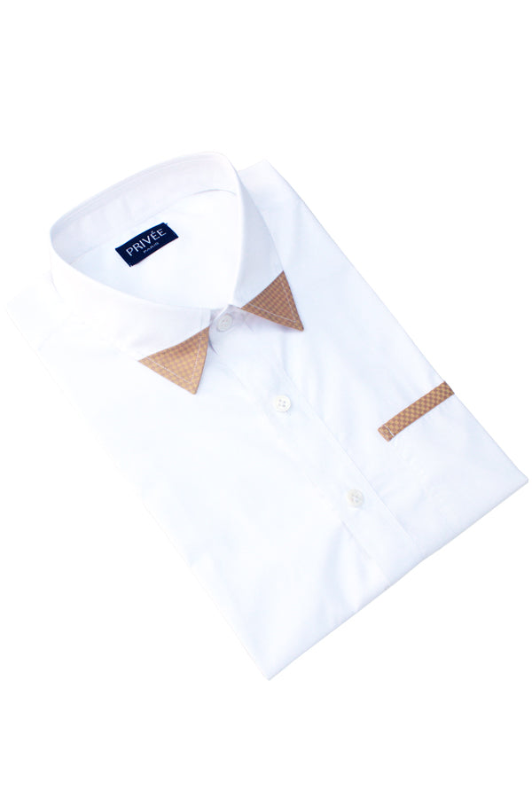 White 2 Ply Designer Shirt (Half Sleeves) - Privee Paris