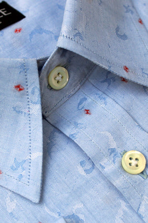 Light Blue Jacquard Designer Shirt
