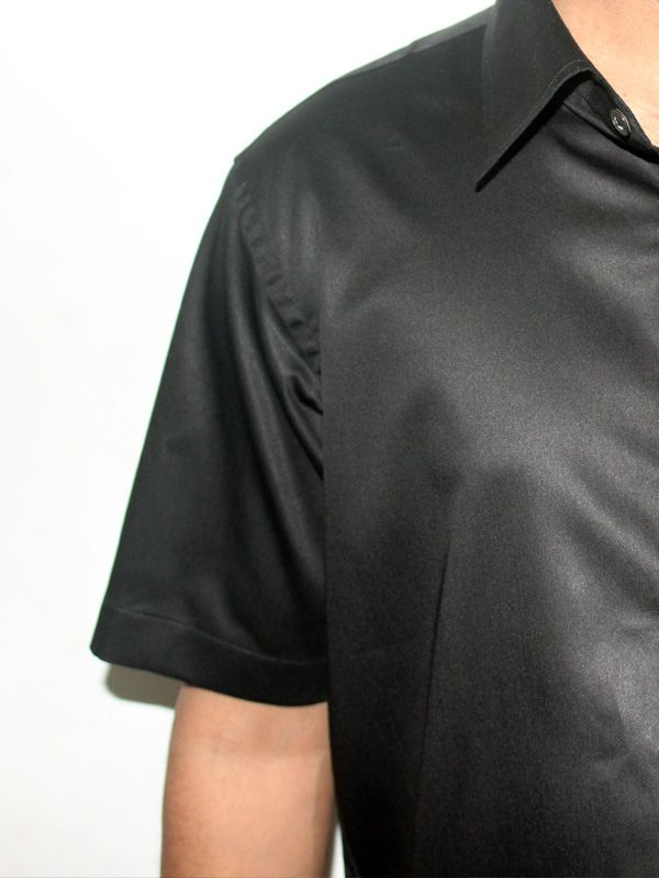 Half Sleeves Jet Black Cotton Shirt