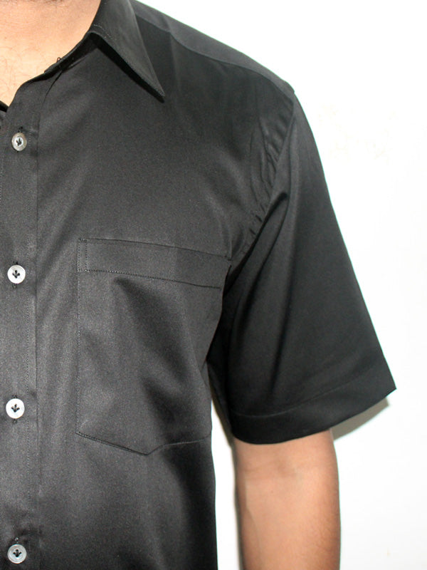 Half Sleeves Jet Black Cotton Shirt Privee Paris