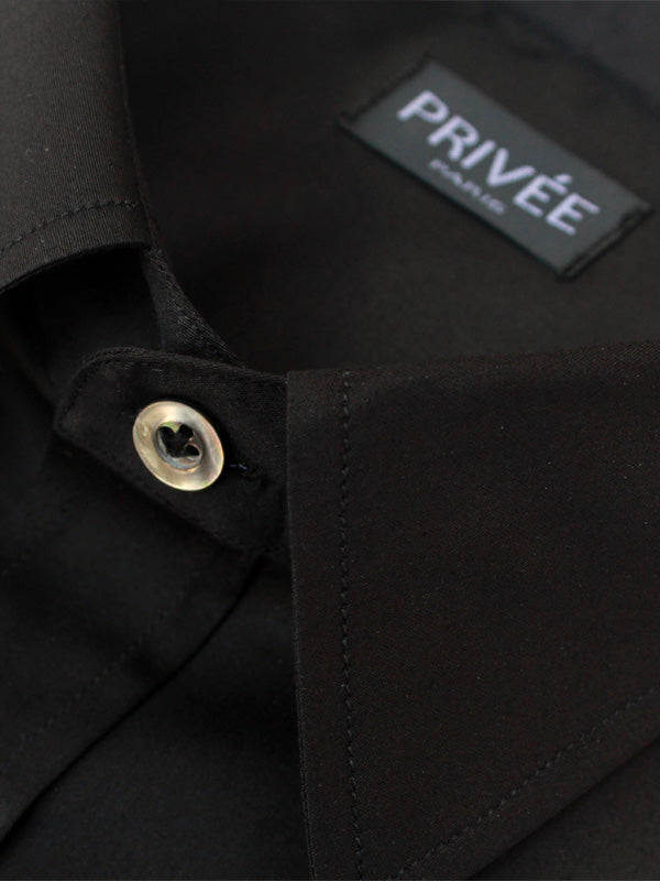 Half Sleeves Jet Black Cotton Shirt - Privee Paris