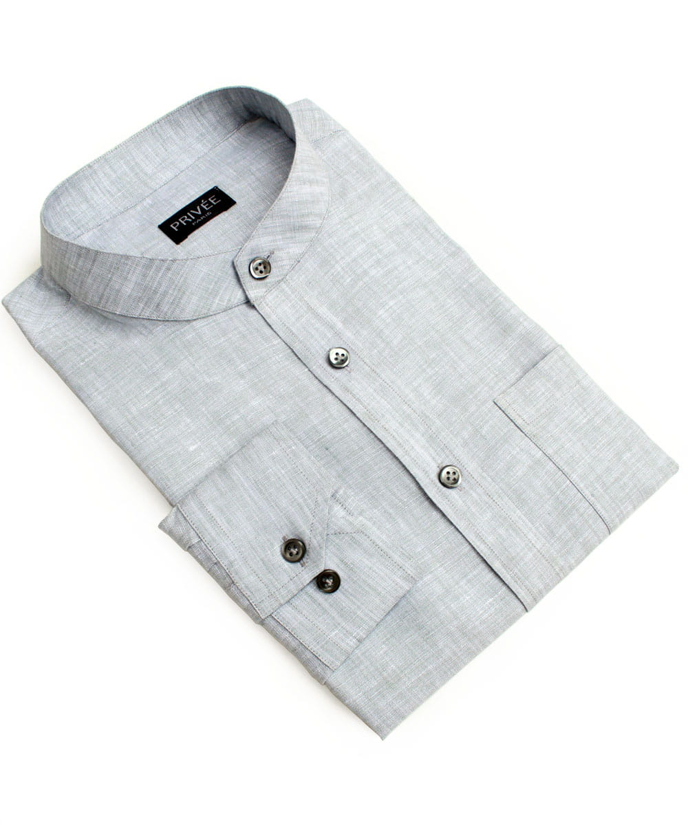 Grey Linen Mandarin Collared Shirts