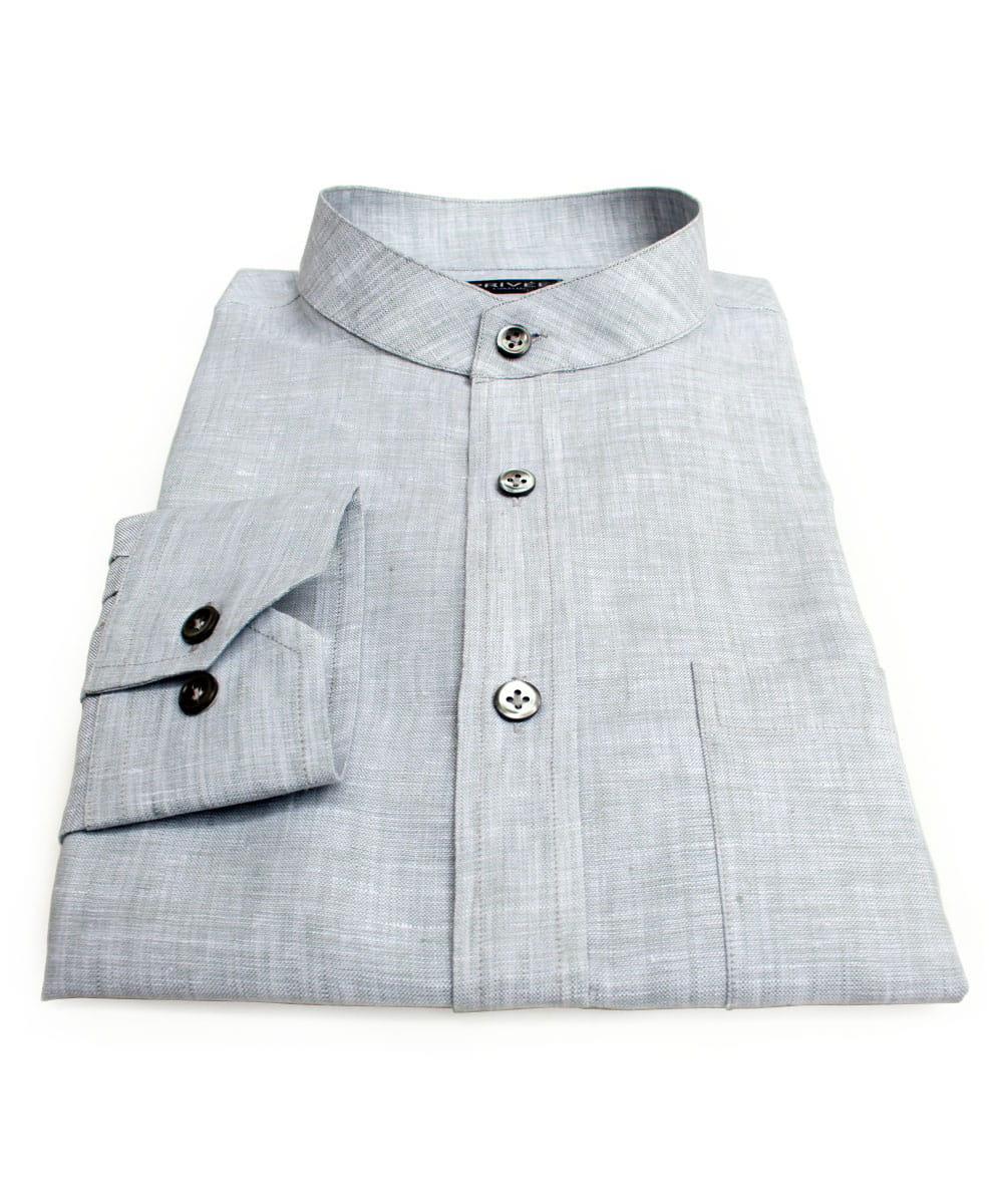 Grey Linen Mandarin Collar Shirt