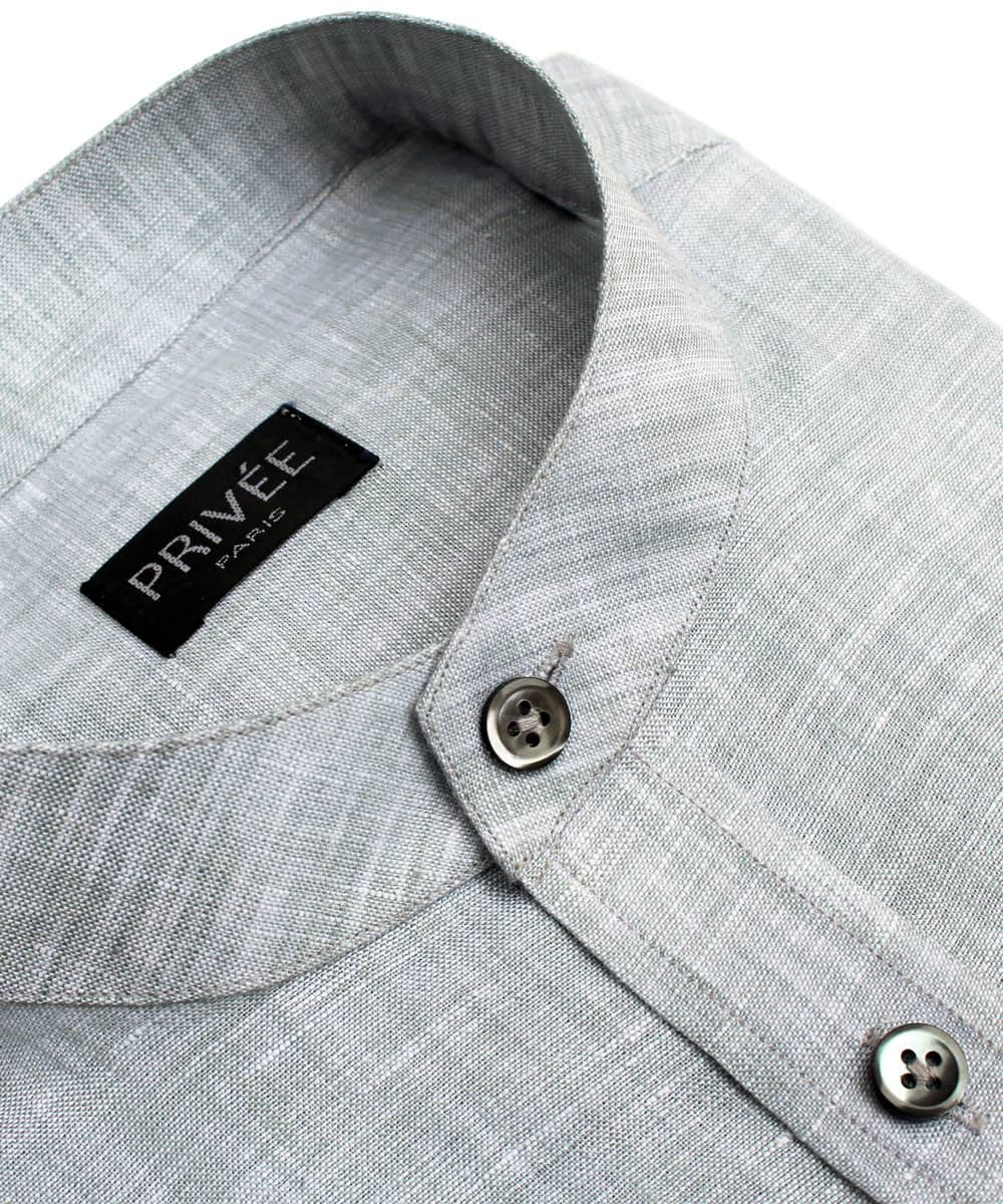 Grey Linen Mandarin Collared Shirt