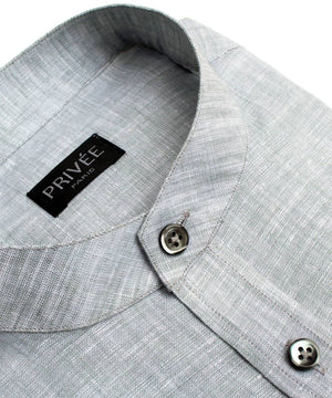 Grey Linen Mandarin Collar Shirt - Privee Paris