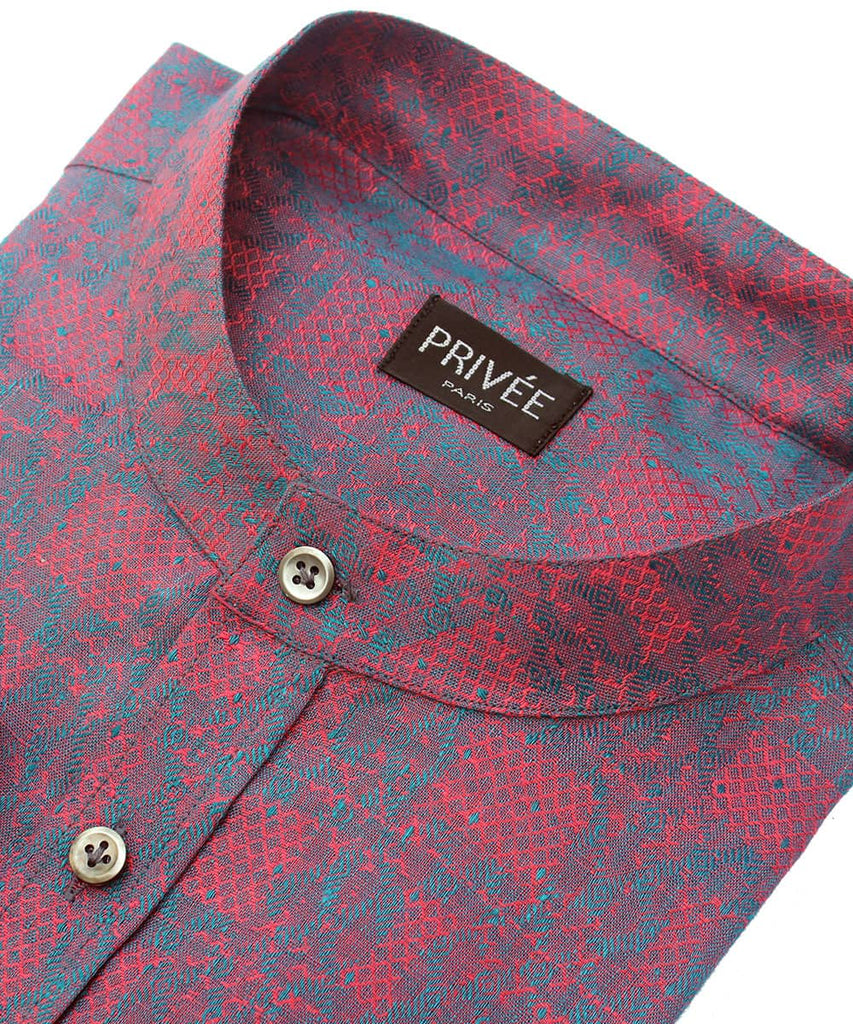Heritage Collection - Linen Jacquard Wedding Shirt - Privee Paris