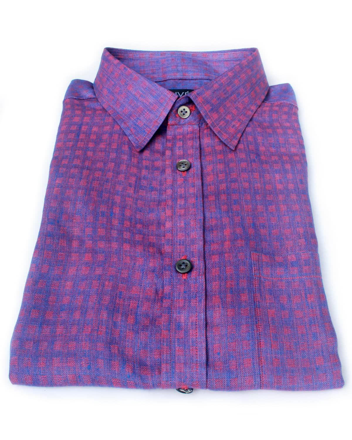 Red-Blue Check Linen Shirt India
